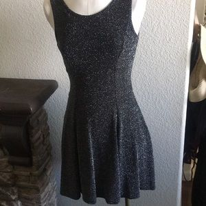 Beautiful blk and silver sparkly dress.